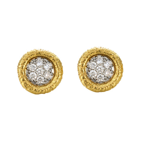 Seven Diamond River Washed Studs in Yellow Gold