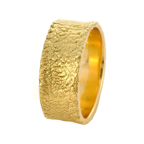 River Washed Textured Band in Yellow Gold