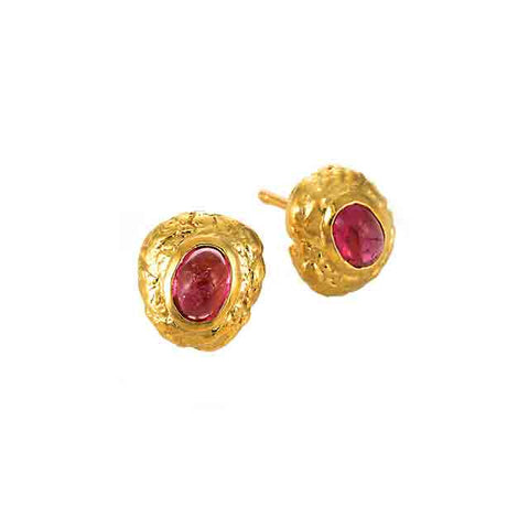 Hot Lava Studs with Pink Tourmaline