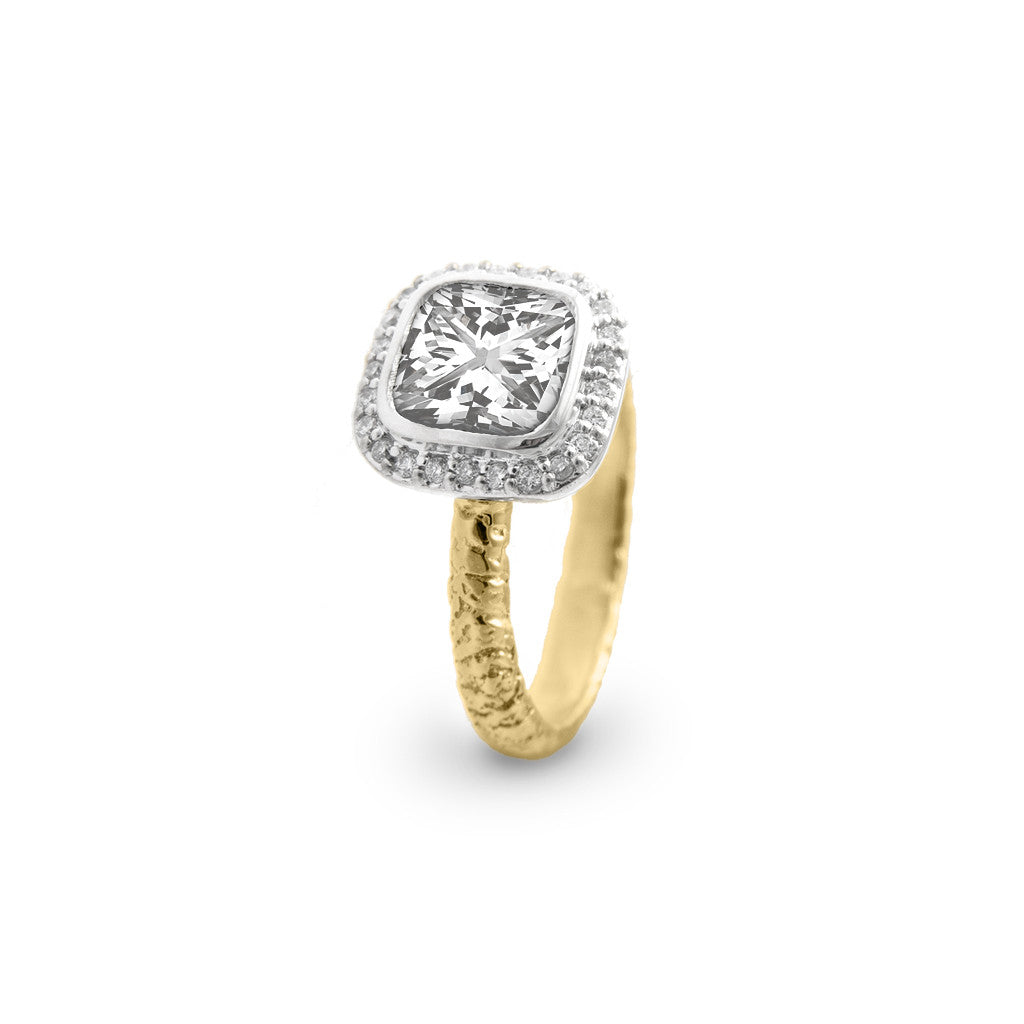 Solitaire Two-Toned Square Diamond Ring with Diamond Pave