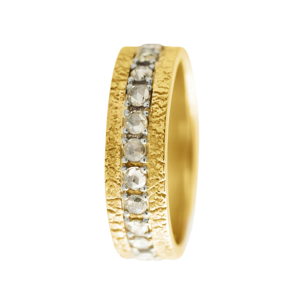 Diamond Pave Band with Yellow Gold River Washed Surround