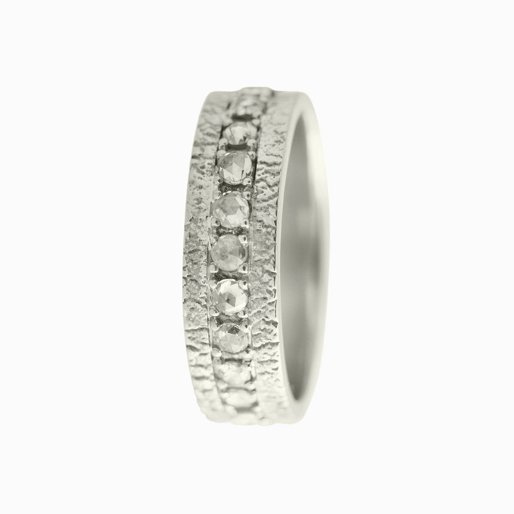 Diamond Pave Band with White Gold River Washed Surround