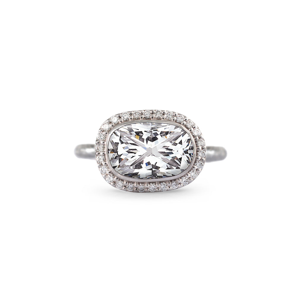 Solitaire Diamond Ring with Diamond Pave in White Gold