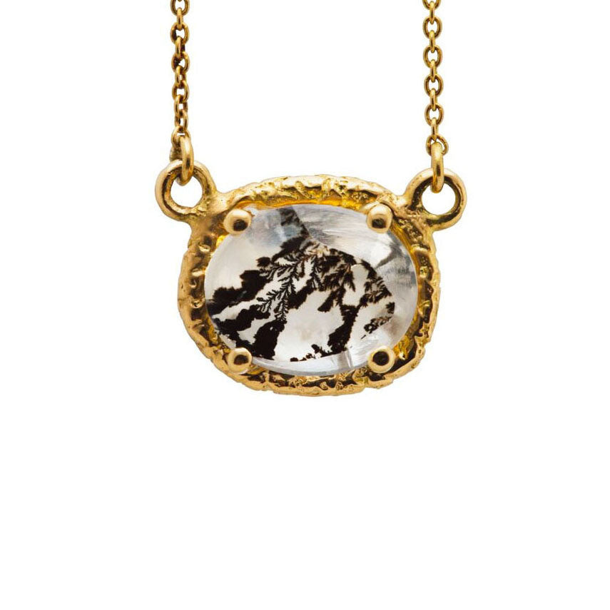 8mm X 10mm Yellow Gold Dendritic Necklace