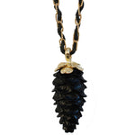 Carved Black Jade Pinecone Necklace