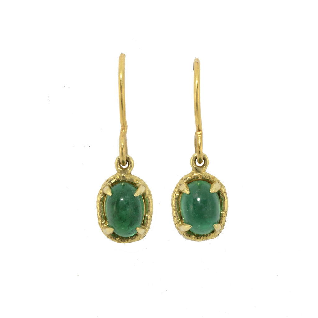 Yellow Gold Emerald Drop Earrings
