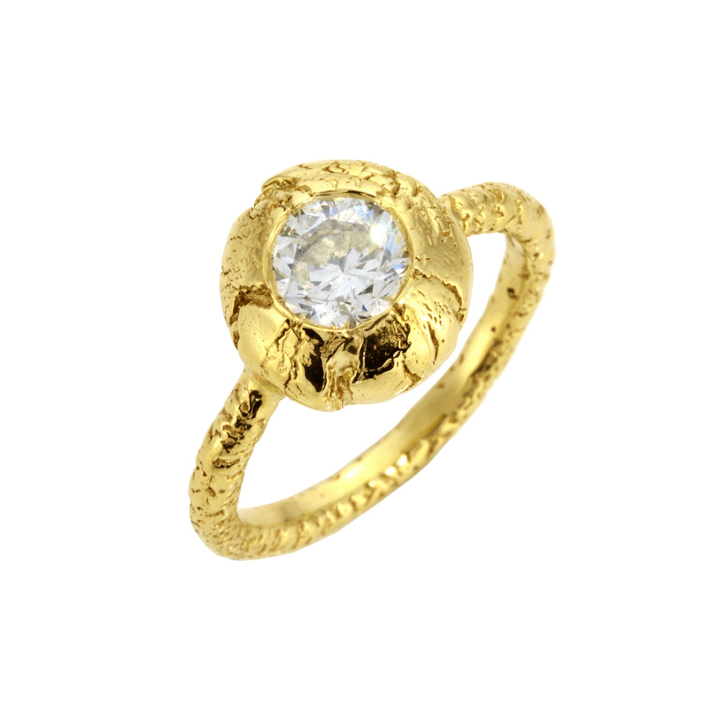 Yellow Gold Volcano Ring with White Diamond