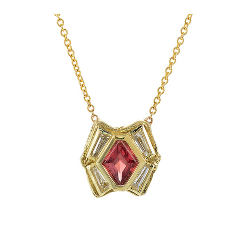 Anza Red Sapphire and Antique Diamond Necklace