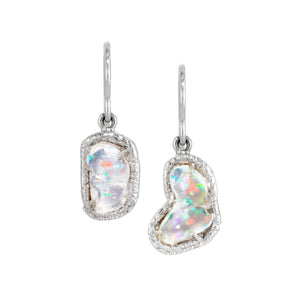Mexican Crystal opal and Diamond Earrings
