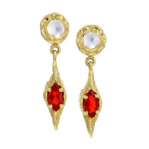 Fire Opal and Moonstone Earrings