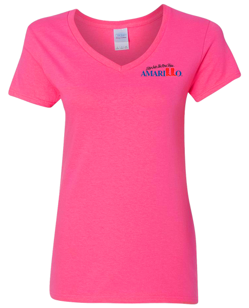 Women's Fitted Bright Pink V-Neck T-Shirts
