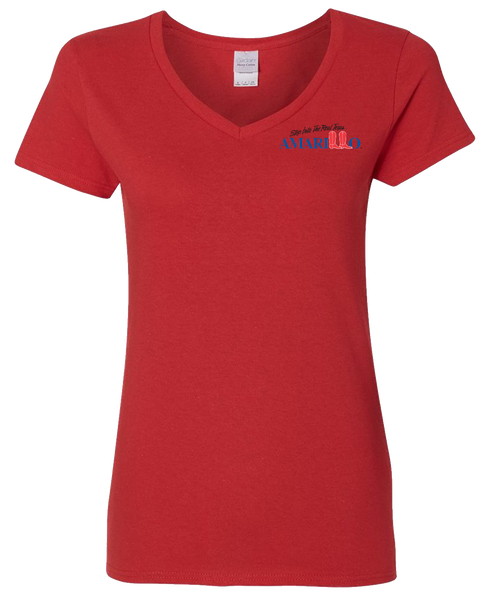 Women's Fitted Red V-Neck T-Shirts