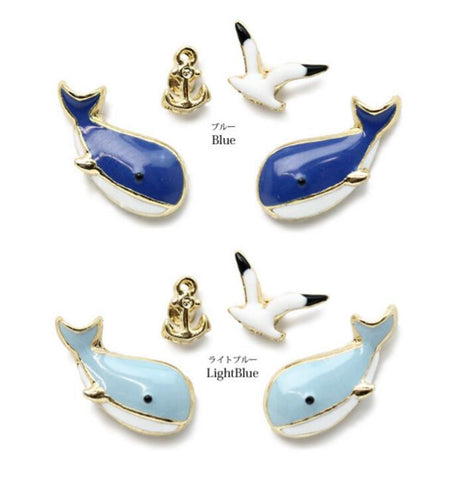 Blue Whale - Seagull - Anchor Earring Set