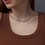 Heavy Cable Chain Choker of Sterlling Silver