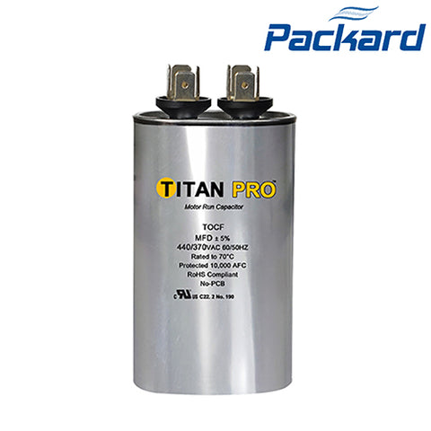 PACKARD, TITAN, TOC10, RUN CAPACITOR, 10uF 370 VAC, OVAL, POCF10