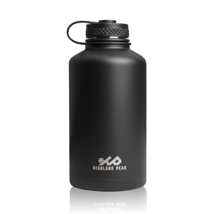 64 oz Stainless Steel Insulated Water Bottle and Beer Growler (Black)