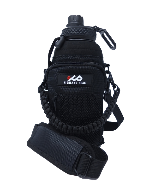 32 oz Sleeve/Carrier with Paracord Survival Handle (Black)