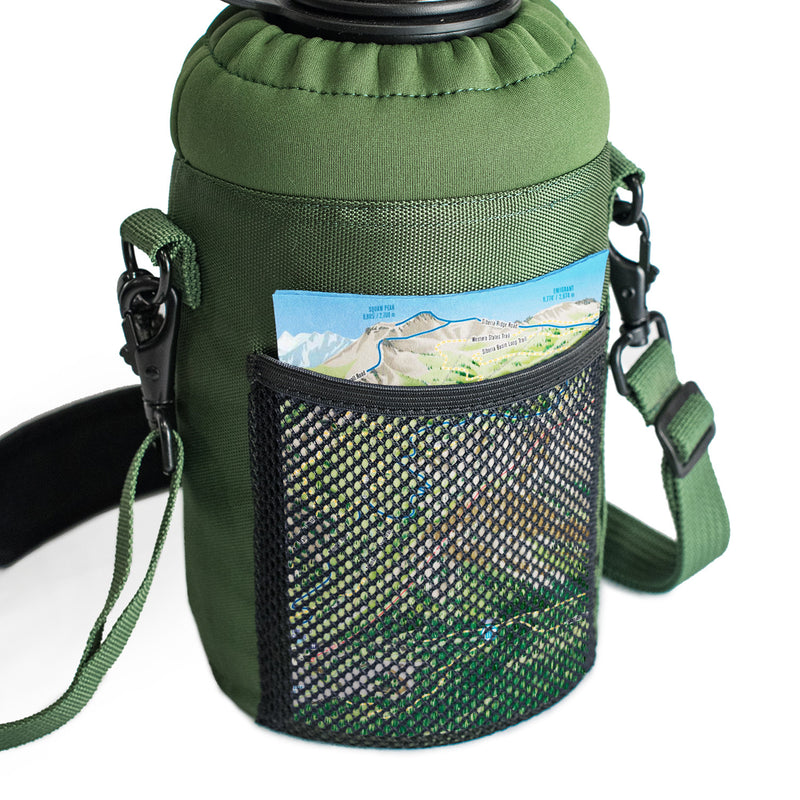 64 oz Sleeve / Pouch with Paracord Survival Carrying Handle (Green)