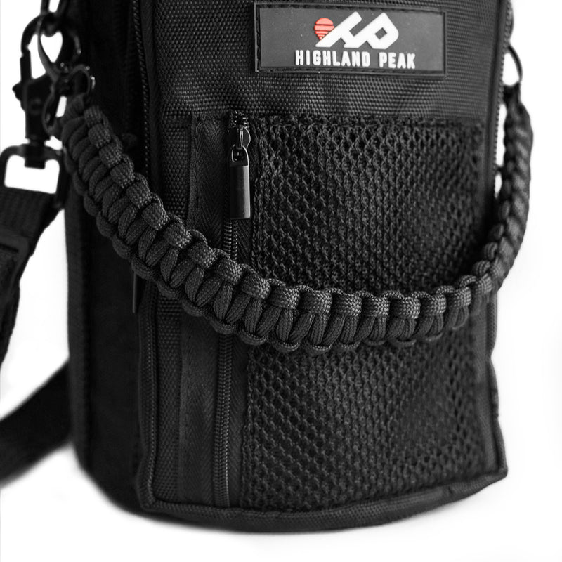 64 oz Sleeve / Pouch with Paracord Survival Carrying Handle (Black)
