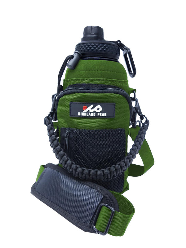32 oz Sleeve/Carrier with Paracord Survival Handle (Green)