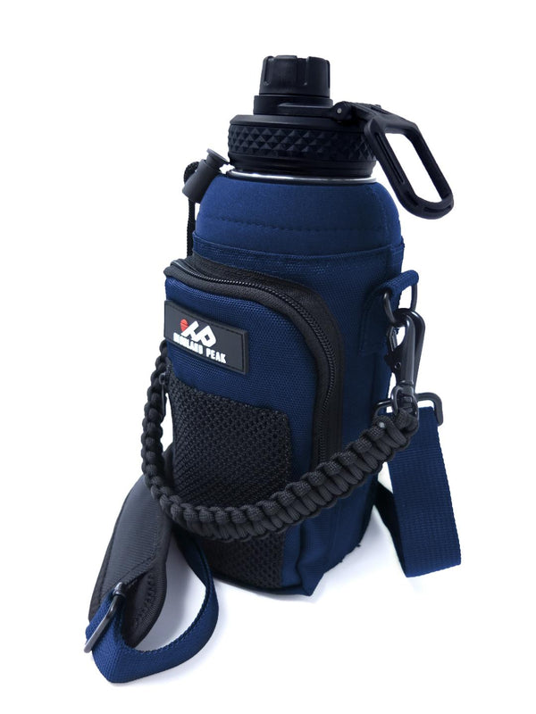 32 oz Sleeve/Carrier with Paracord Survival Handle (Blue)