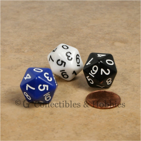 D10 (20 Sided) 0-9 Twice RPG Dice Set 3pc