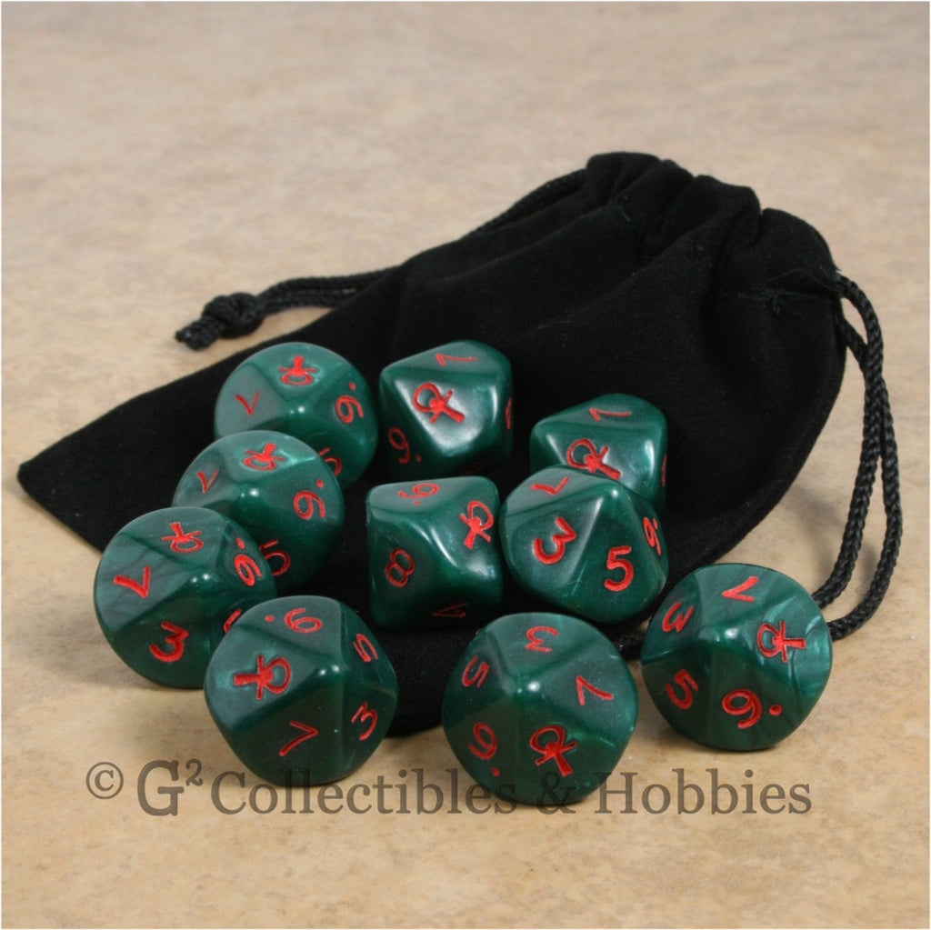 D10 Ankh Pearlized Green with Red Numbers 10pc Dice & Bag Set