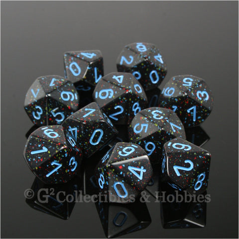 D10 Speckled Blue Star with Blue Numbers 10pc Dice Set