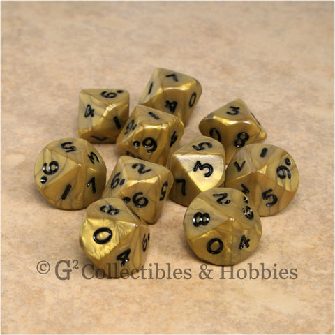 D10 Olympic Pearlized Gold with Black Numbers 10pc Dice Set