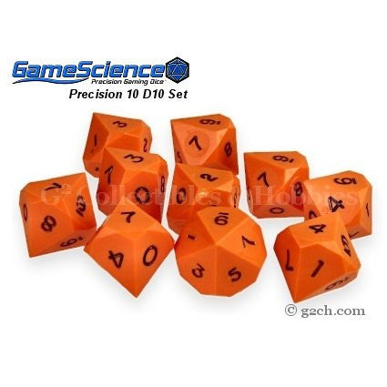 Gamescience Precision D10 Dice Set Opaque Orange 10pc