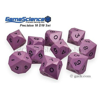 Gamescience Precision D10 Dice Set Opaque Purple 10pc