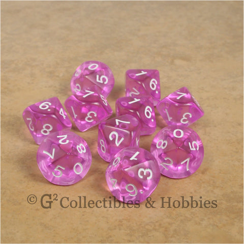 D10 Transparent Orchid with White Numbers 10pc Dice Set