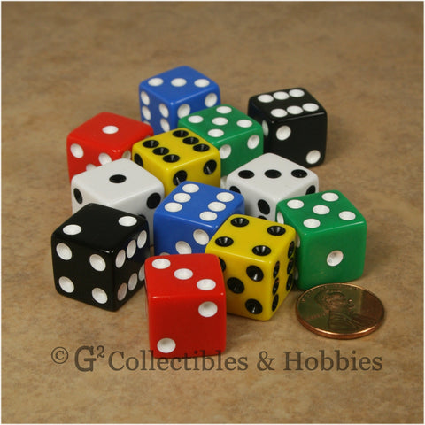 D6 16mm Opaque Multicolored 12pc Dice Set - 6 Colors