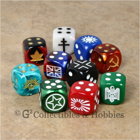 WWII Axis & Allies 10pc Dice - Set A