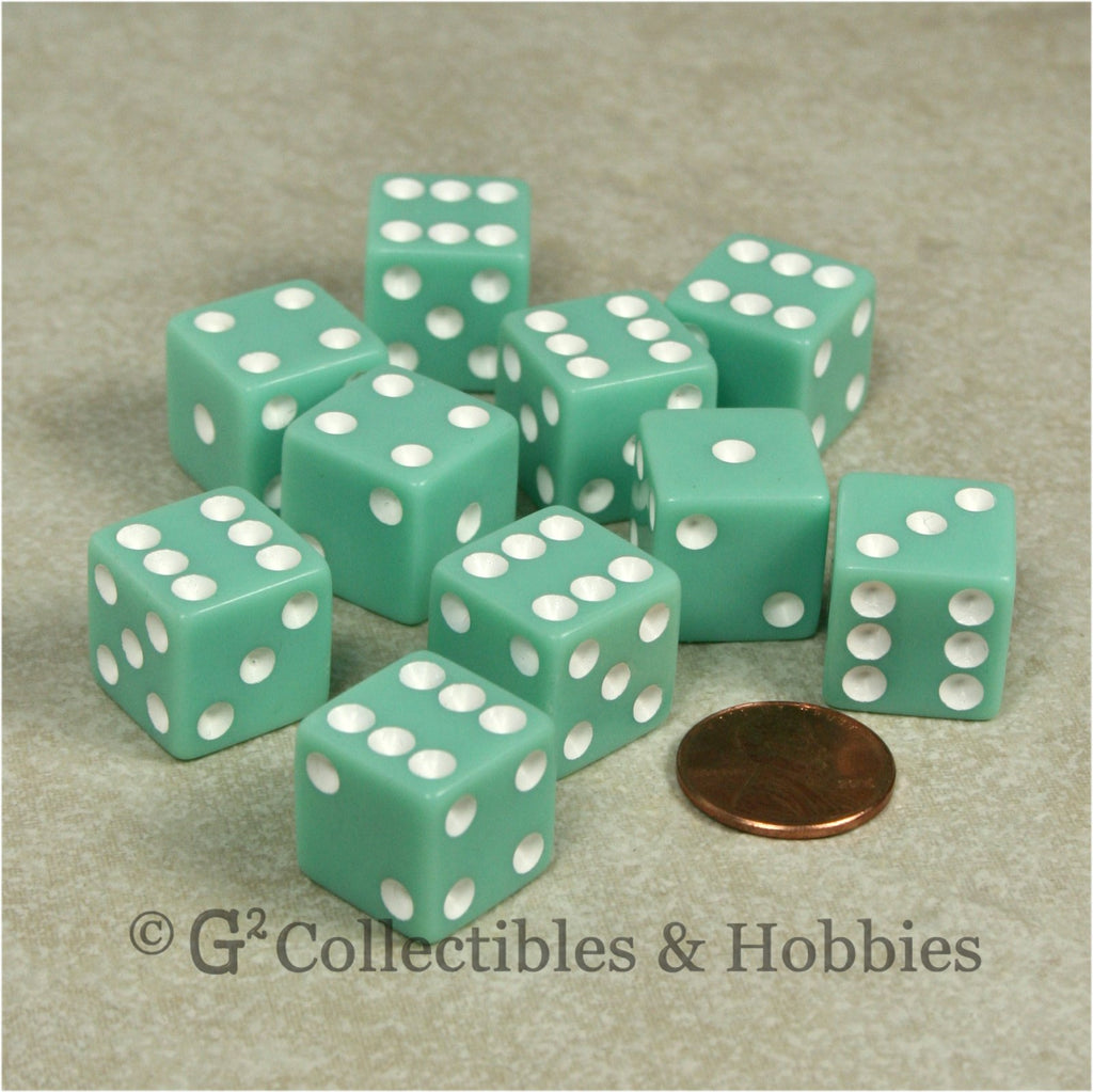D6 16mm Opaque Pastel Green with White Pips 10pc Dice Set