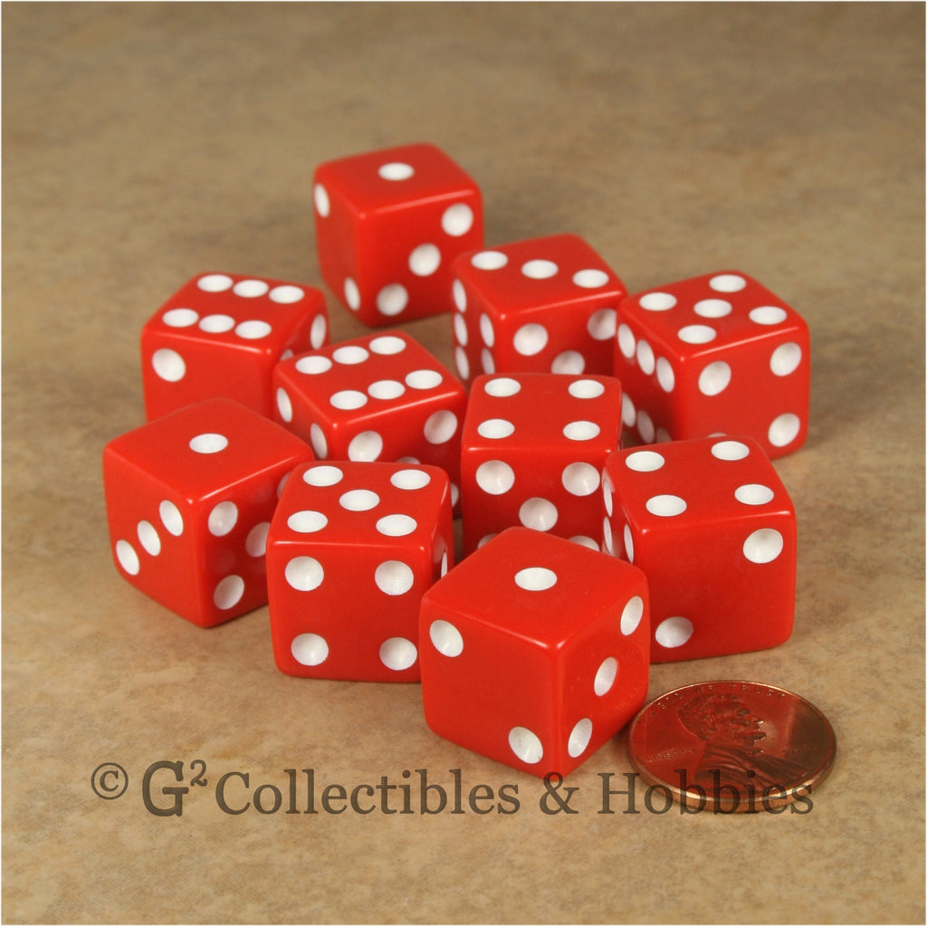 D6 16mm Opaque Red with White Pips 10pc Dice Set