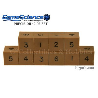 Gamescience Precision D6 Dice Set Opaque Brown 10pc