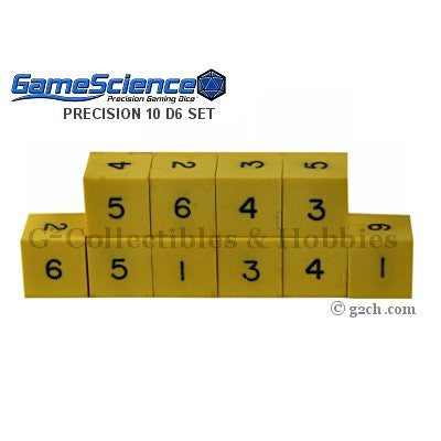 Gamescience Precision D6 Dice Set Opaque Yellow 10pc