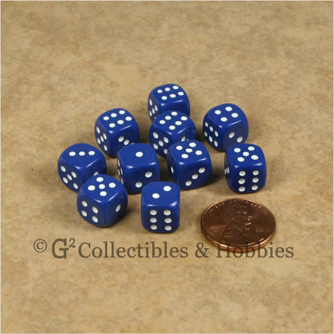 D6 10mm Opaque Blue with White Pips 10pc Dice Set