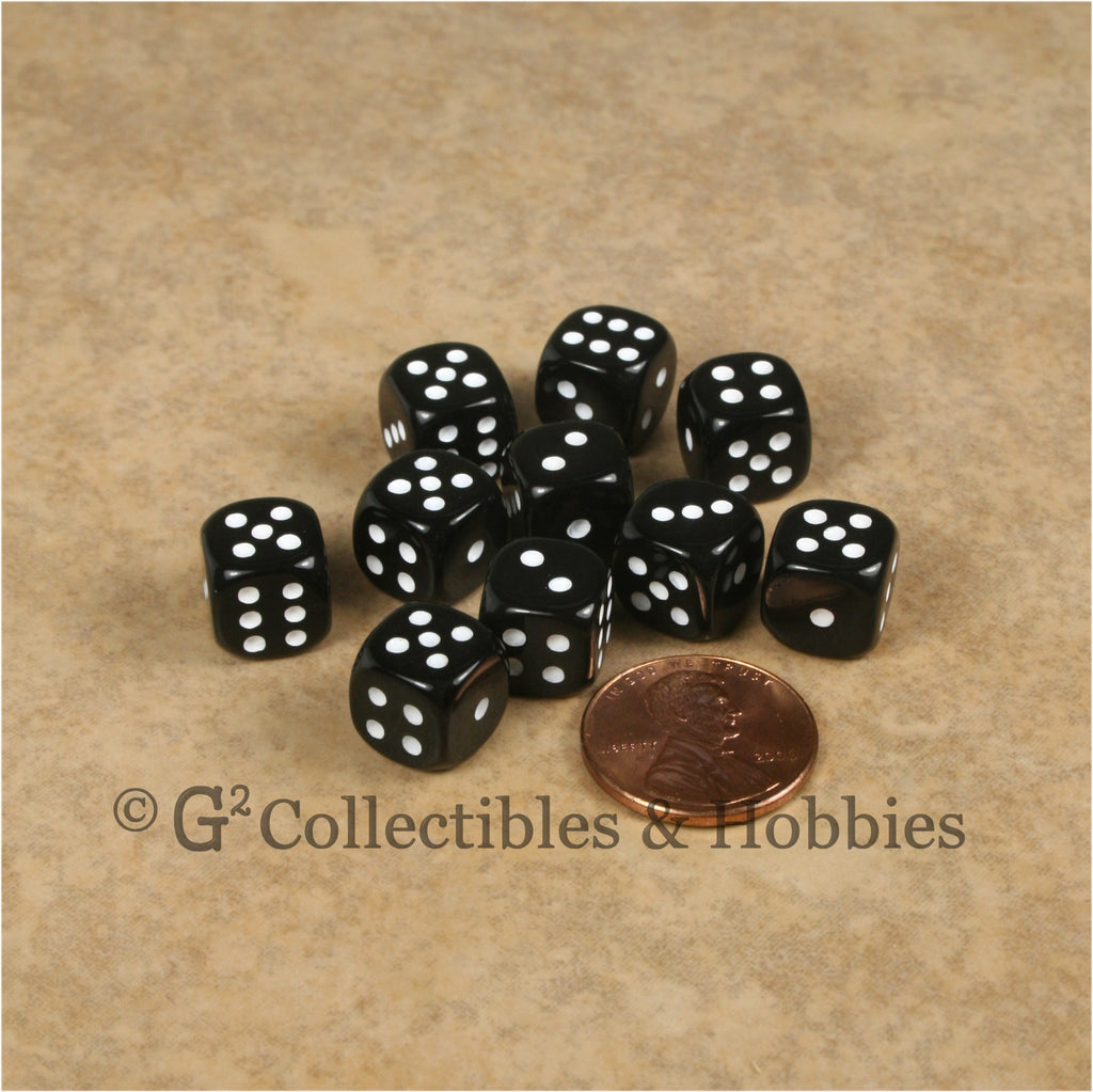 D6 10mm Opaque Black with White Pips 10pc Dice Set