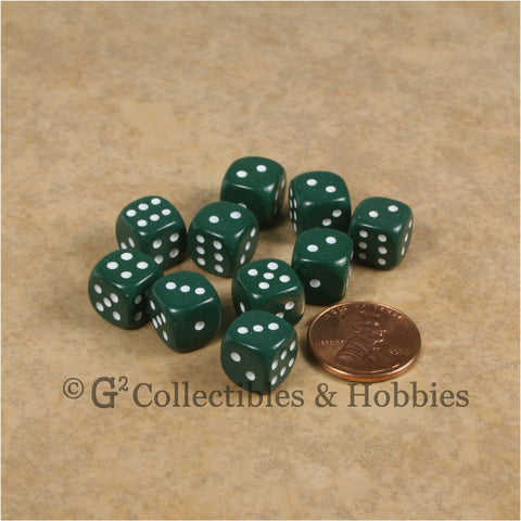 D6 10mm Opaque Hunter Green with White Pips 10pc Dice Set