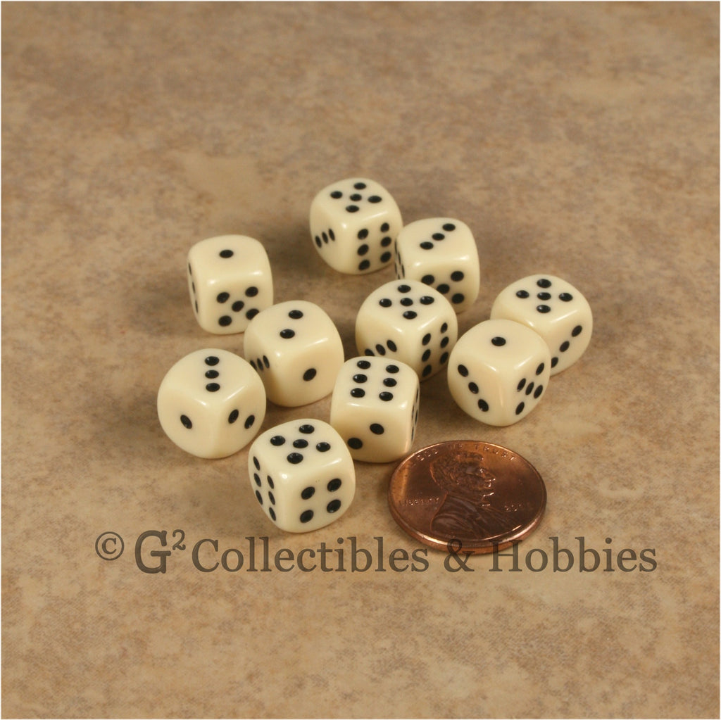 D6 10mm Opaque Ivory with Black Pips 10pc Dice Set