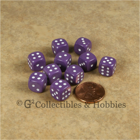 D6 10mm Opaque Purple with White Pips 10pc Dice Set