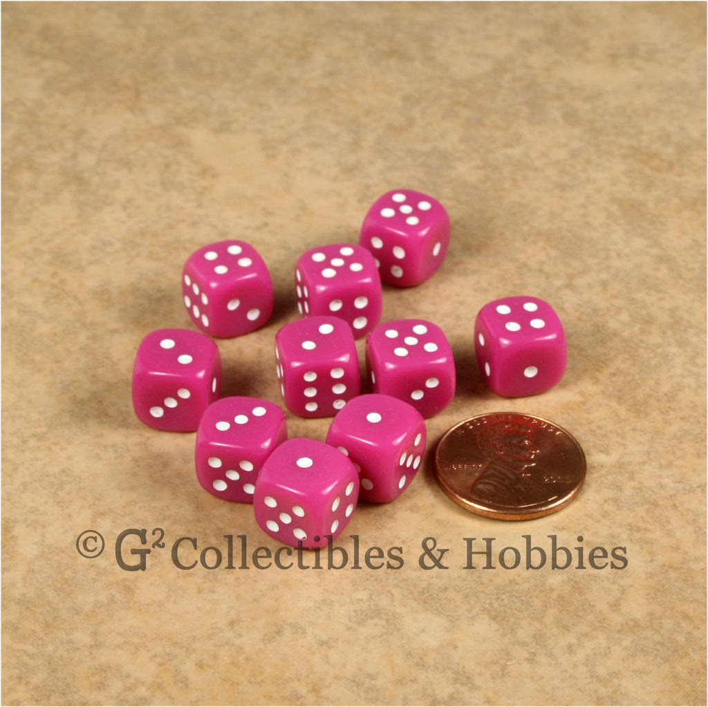 D6 10mm Opaque Pink with White Pips 10pc Dice Set