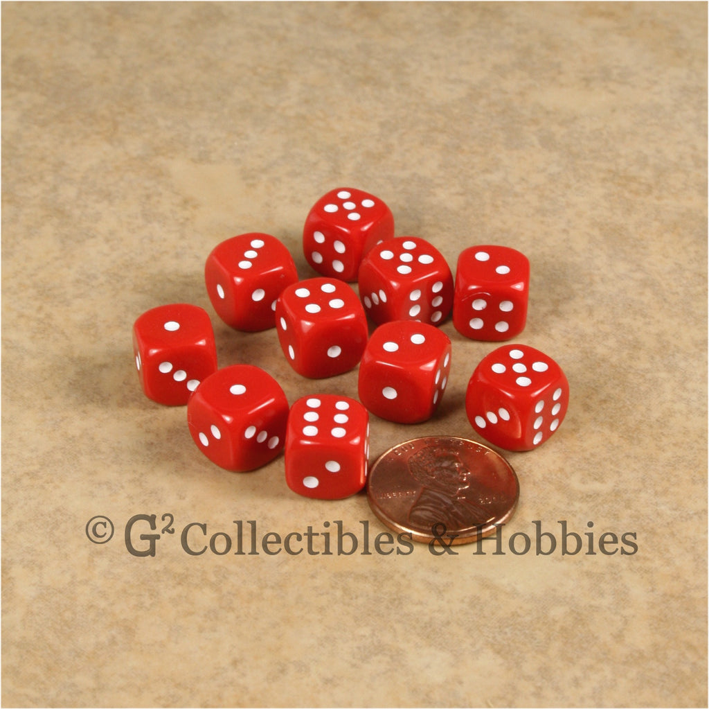 D6 10mm Opaque Red with White Pips 10pc Dice Set