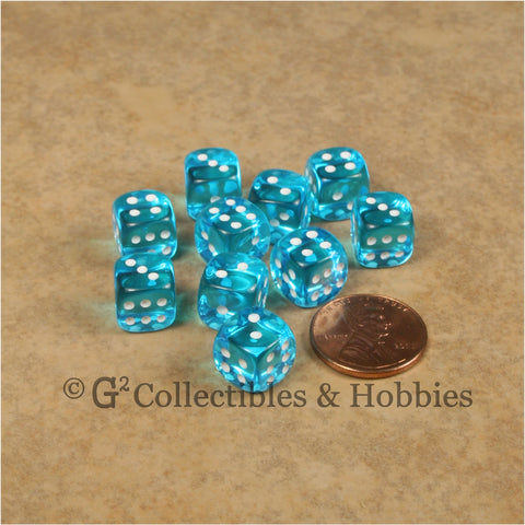 D6 10mm Transparent Turquoise Blue with White Pips 10pc Dice Set