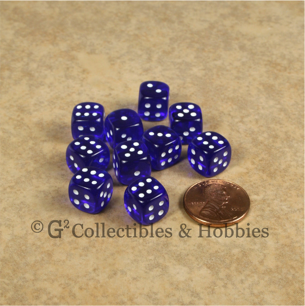 D6 10mm Transparent Blue with White Pips 10pc Dice Set