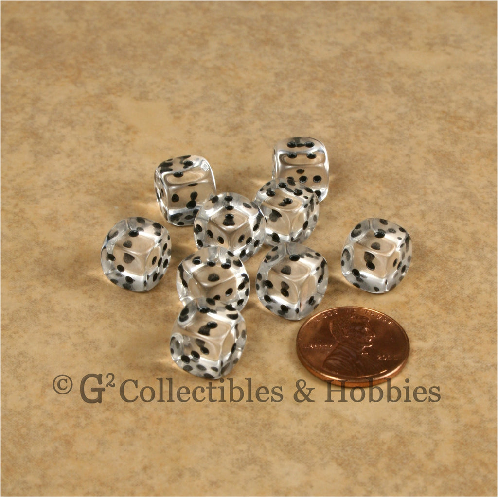 D6 10mm Transparent Clear with Black Pips 10pc Dice Set