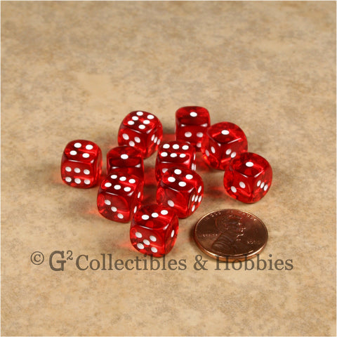 D6 10mm Transparent Red with White Pips 10pc Dice Set
