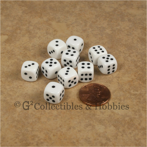 D6 10mm Opaque White with Black Pips 10pc Dice Set